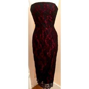 Siri Dresses - Siri Black Red Lace Overlay Strapless Midi Dress